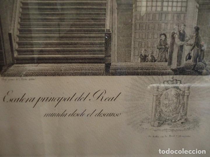 Arte: GRABADO DE LA ESCALERA PRINCIPAL DEL REAL MONASTERIO DE SAN LORENZO - Foto 2 - 115947303