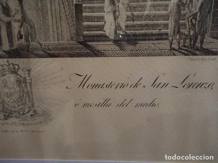 Arte: GRABADO DE LA ESCALERA PRINCIPAL DEL REAL MONASTERIO DE SAN LORENZO - Foto 3 - 115947303