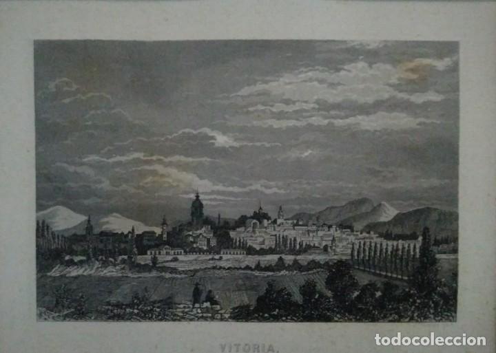 Arte: Grabado VITORIA. Luis Tasso. 1860 Con paspartú biselado - Foto 2 - 116134787