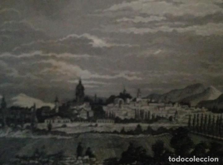 GRABADO VITORIA. LUIS TASSO. 1860 CON PASPARTÚ BISELADO (Arte - Grabados - Modernos siglo XIX)