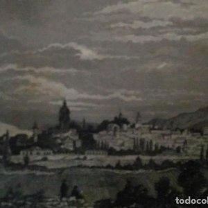 Grabado VITORIA. Luis Tasso. 1860 Con paspartú biselado