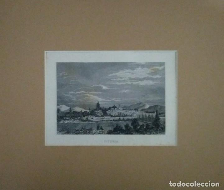 Arte: Grabado VITORIA. Luis Tasso. 1860 Con paspartú biselado - Foto 3 - 116134787