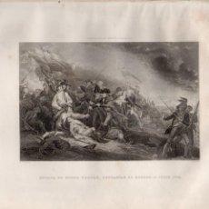 Arte: BATALLA DE MONTE BUNKER, CERCANÍAS DE BOSTON, 17 JUNIO 1775 (TRUMBULL / ARMYTAGE) ESTADOS UNIDOS. Lote 116230123