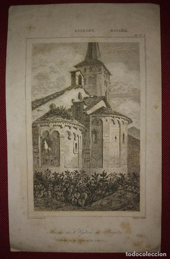 Arte: GRABADO BÓVEDA DE LA IGLESIA DE BOSOLTO ESPAÑA LEMAITRE DIREXIT. 19,5 x 12 ABSIDE DE LEGLISE - Foto 2 - 116254279