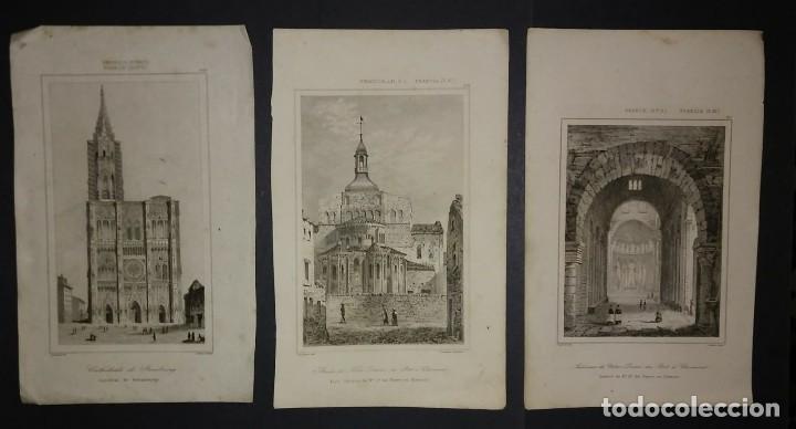 LOTE 3 GRABADOS SIGLO XIX ARQUITECTURA - IGLESIAS - FRANCIA LEMAITRE DIREXIT (Arte - Grabados - Modernos siglo XIX)