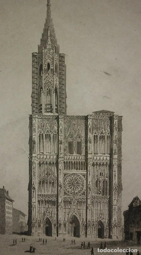 Arte: Lote 3 grabados siglo XIX Arquitectura - iglesias - Francia LEMAITRE DIREXIT - Foto 2 - 116265895