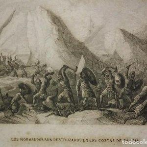 GALICIA Grabado XIX Los normandos son destrozados en las costas de Galicia