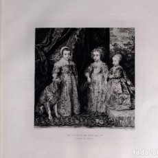 Arte: VAN DICK, LES ENFANTS DE CHARLES 1ER, AGUAFUERTE DE M. GAUJEAN 1893. Lote 116372555