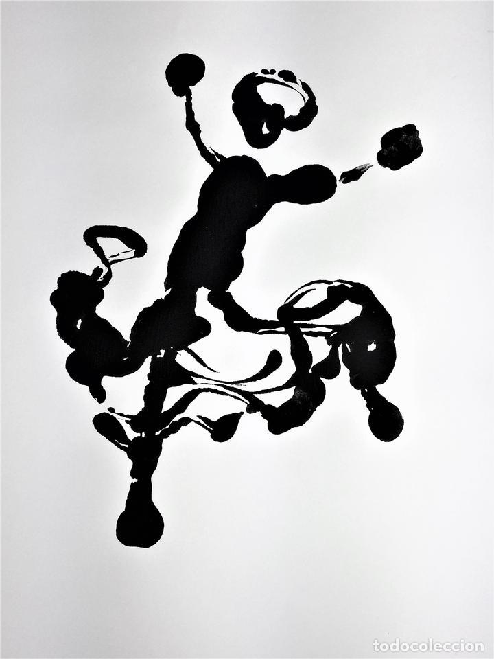 FLAMENCAS. 7 GRABADOS AL TAMPÓN. ACUARELA NEGRA. ESPAÑA. SIGLO. XX (Arte - Grabados - Contemporáneos siglo XX)