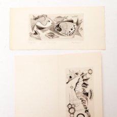 Arte: 2 AGUAFUERTES DE AUTOR FRANCES DESCONOCIDO ( MELSOM?). Lote 116680907