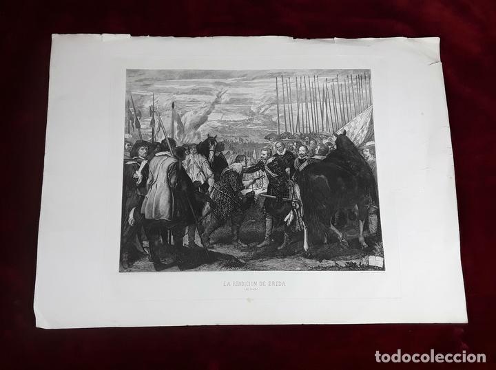 LA RENDICIÓN DE BREDA. GRABADO DE B. MAURA SOBRE LA OBRA DE VELÁZQUEZ. 1871. (Arte - Grabados - Modernos siglo XIX)