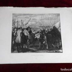 Arte: LA RENDICIÓN DE BREDA. GRABADO DE B. MAURA SOBRE LA OBRA DE VELÁZQUEZ. 1871.. Lote 117188067