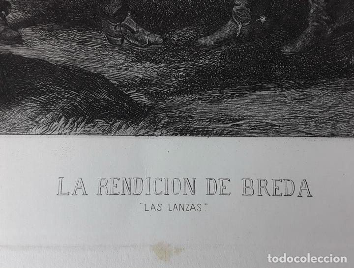 Arte: LA RENDICIÓN DE BREDA. GRABADO DE B. MAURA SOBRE LA OBRA DE VELÁZQUEZ. 1871. - Foto 2 - 117188067