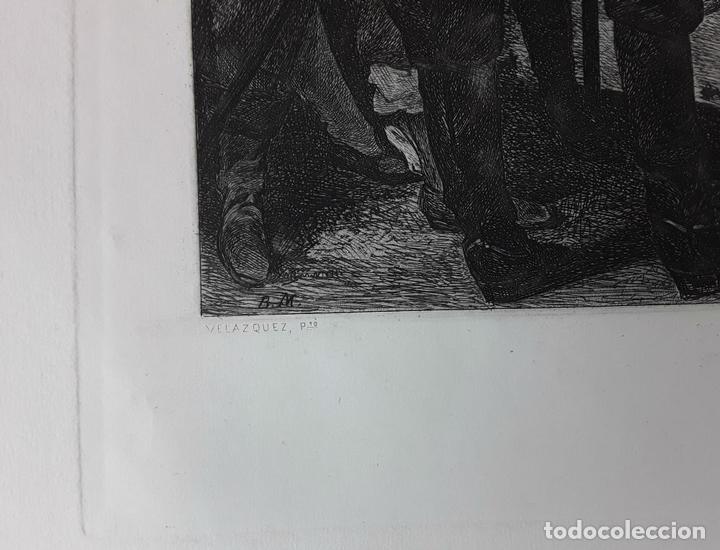 Arte: LA RENDICIÓN DE BREDA. GRABADO DE B. MAURA SOBRE LA OBRA DE VELÁZQUEZ. 1871. - Foto 3 - 117188067