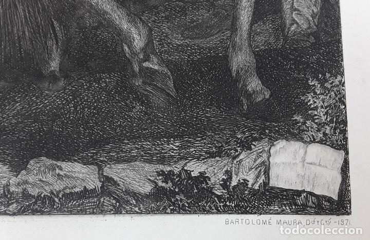 Arte: LA RENDICIÓN DE BREDA. GRABADO DE B. MAURA SOBRE LA OBRA DE VELÁZQUEZ. 1871. - Foto 4 - 117188067