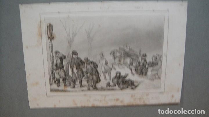 GRABADO DE RUSIA , CORREDORES DE TRINEOS , VERNIER DEL , CHAILLOT SC , LEMAITRE DIREXIT. (Arte - Grabados - Modernos siglo XIX)