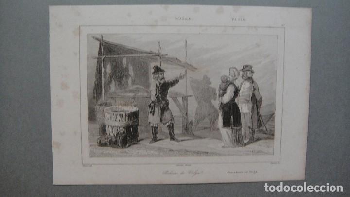 GRABADO DE RUSIA , PESCADORES DEL VOLGA , VERNIER DEL , CHAILLOT SC , LEMAITRE DIREXIT. (Arte - Grabados - Modernos siglo XIX)