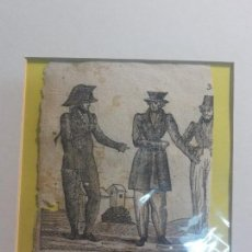 Arte: ANTIGUO GRABADO VALENCIANO DE ANTIGUO PERGAMINO LIBRO DEL SIGLO XVIII MILITAR EN CABAÑAL. Lote 117289619