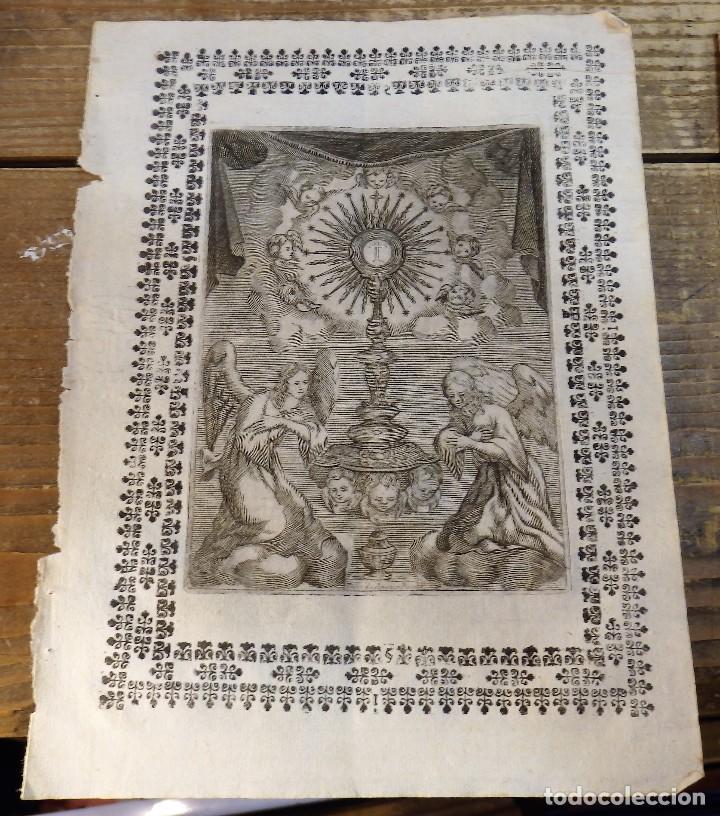SIGLO XVIII, GRABADO SACRAMENTAL, 145X200MM (Arte - Grabados - Antiguos hasta el siglo XVIII)