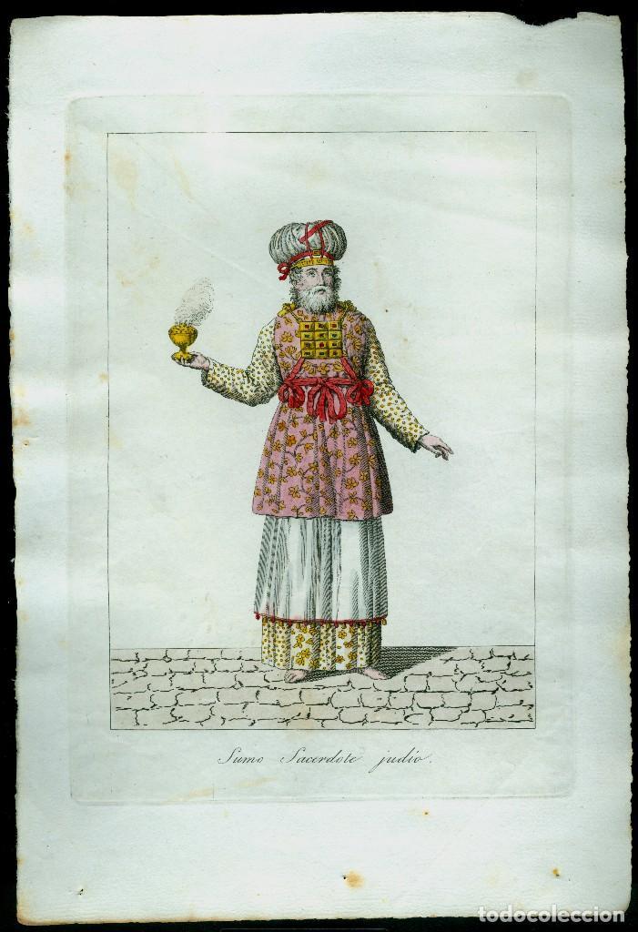 GRABADO COLOREADO - SUMO SACERDOTE JUDIO (Arte - Grabados - Antiguos hasta el siglo XVIII)