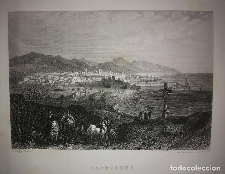 Arte: Antiguo grabado Barcelone (Barcelona) paspartú biselado 41x34 preparado para enmarcar Puerto playa - Foto 3 - 117629491
