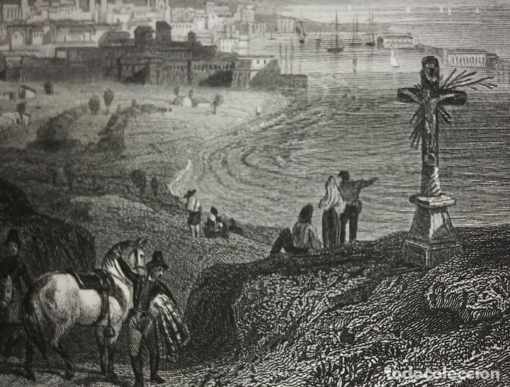 Arte: Antiguo grabado Barcelone (Barcelona) paspartú biselado 41x34 preparado para enmarcar Puerto playa - Foto 4 - 117629491