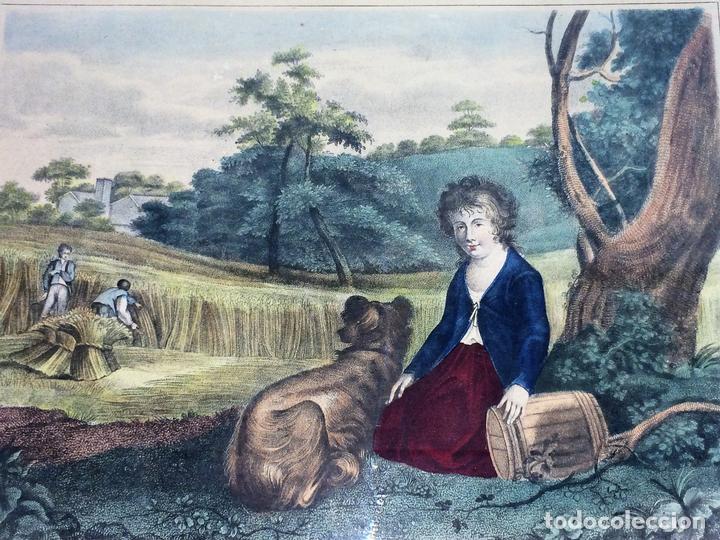 THE REAPER'S CHILD. GRABADO COLOREADO. DRAVUNBY-ZAFFONATTO. INGLATERRA. SIGLO XIX (Arte - Grabados - Modernos siglo XIX)