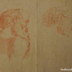 Arte: GRABADO ANTIGUO, CABEZA DE ANCIANO. DIBUJO DE ANNIBALE CARRACHI.. Lote 118003855