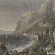 Arte: GIBRALTAR, CIUDAD DE GIBRALTAR, POR BIBL. INSTITUT HILDBURGHAUSEN, 1840, DIE MEERENDE VON GIBRALTAR. Lote 118337307