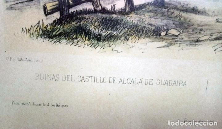 Arte: Alcalá de Guadaira. Reproducción de antigua lámina francesa coloreada, Ruinas del Antiguo Castillo - Foto 4 - 144699570