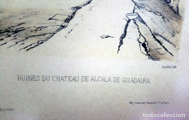 ALCALÁ DE GUADAIRA. REPRODUCCIÓN DE ANTIGUA LÁMINA FRANCESA COLOREADA, RUINAS DEL ANTIGUO CASTILLO (Arte - Grabados - Modernos siglo XIX)