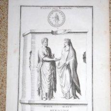Arte: HÁBITOS DE LOS ROMANOS. B. DE MONTFAUCON 1719. Lote 118924643