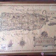 Arte: PUERTO RICO-CURIOSO Y RARO MAPA ANTIGUO DE PUERTO RICO ,AÑOS 1960 . Lote 119385163