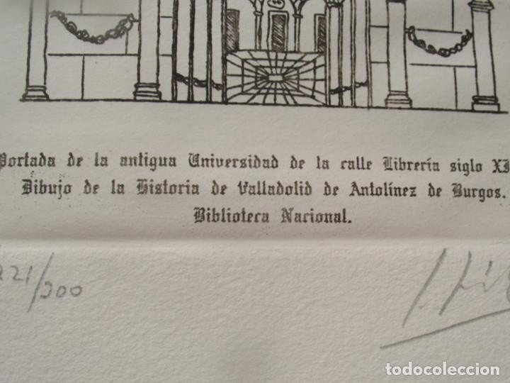 PORTADA DE LA ANTIGUA UNIVERSIDAD DE VALLADOLID, S.XIII 172 X 117 MM. AGUAFUERTE. (Arte - Grabados - Contemporáneos siglo XX)