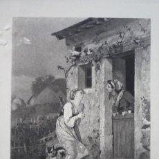 Arte: EL SALTAMONTES Y LA HORMIGA. GRABADO POR GOUPIL DE UNA PINTURA DE METZMACHER EN 1880.. Lote 119555743
