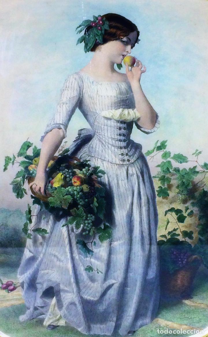 DAMISELA CON CESTA DE FRUTAS. DE UN ORIGINAL DE VIDAL. POSSELWHITE GRABADOR. ESPAÑA. XIX (Arte - Grabados - Modernos siglo XIX)