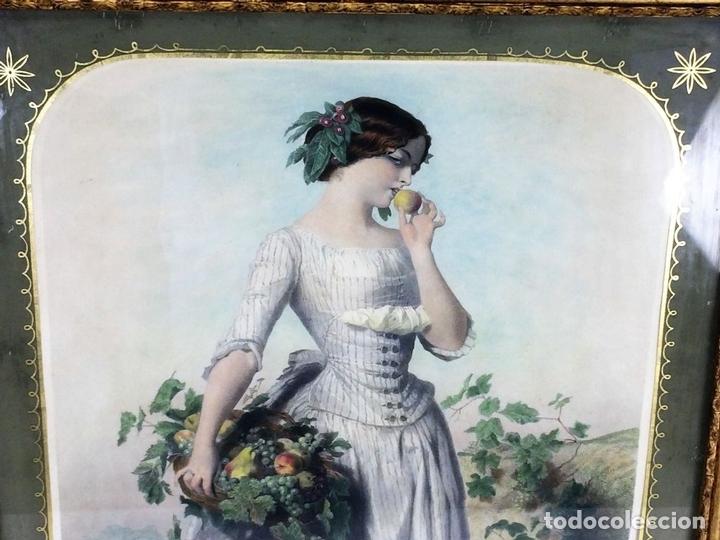 Arte: DAMISELA CON CESTA DE FRUTAS. DE UN ORIGINAL DE VIDAL. POSSELWHITE GRABADOR. ESPAÑA. XIX - Foto 3 - 119618619