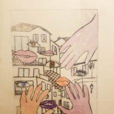 Arte: TODAS LAS CASAS, MARIA CRISTINA BENITO ALAS, PUNTA SECA Y ACUARELA. FIRMADO Y NUMERADO 1/4. 52X72CM. Lote 119682056