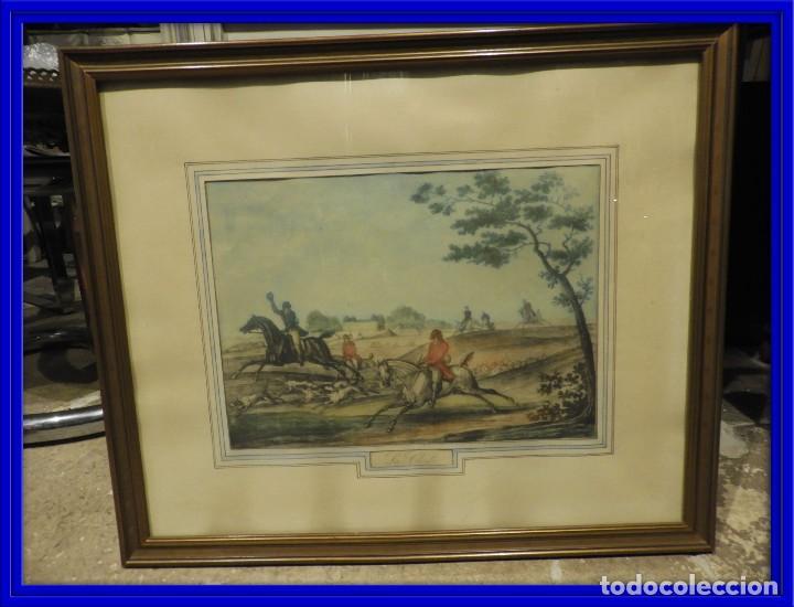 GRABADO INGLES ANTIGUO ESCENA DE CAZA A CABALLO (Arte - Grabados - Modernos siglo XIX)