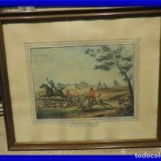 Arte: GRABADO INGLES ANTIGUO ESCENA DE CAZA A CABALLO. Lote 119878195