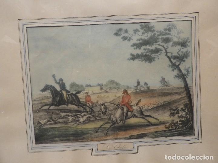 Arte: GRABADO INGLES ANTIGUO ESCENA DE CAZA A CABALLO - Foto 2 - 119878195