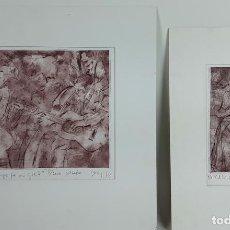 Arte: PAREJA DE GRABADOS P/A. CLAUDIO SCHEFFER. INCLUYE CERTIFICADO EN EL DORSO. . Lote 119959499