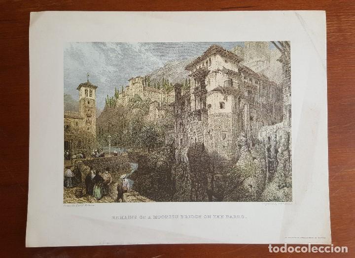 GRABADO EN GRANADA. REMAINS OF A MOORISH BRIDGE ON THE DARRO. DAVID ROBERTS. (Arte - Grabados - Contemporáneos siglo XX)