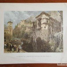 Arte: GRABADO EN GRANADA. REMAINS OF A MOORISH BRIDGE ON THE DARRO. DAVID ROBERTS.. Lote 120030455