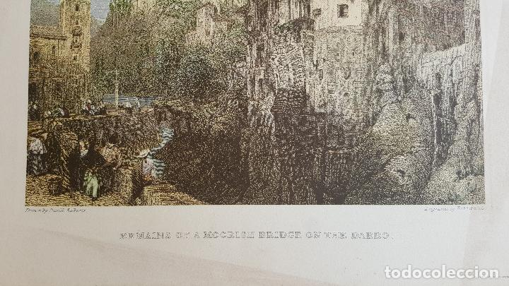 Arte: Grabado en Granada. Remains of a moorish bridge on the darro. David Roberts. - Foto 4 - 120030455