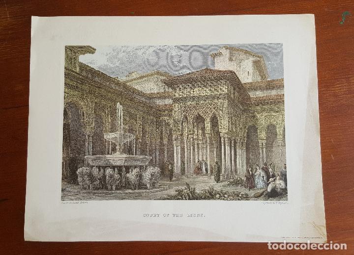 Arte: Grabado antiguo Patio de los Leones- Granada. David Roberts. PIEZA RARA!!!! - Foto 2 - 120031367