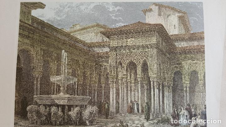 Arte: Grabado antiguo Patio de los Leones- Granada. David Roberts. PIEZA RARA!!!! - Foto 3 - 120031367