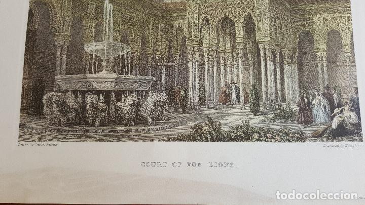 Arte: Grabado antiguo Patio de los Leones- Granada. David Roberts. PIEZA RARA!!!! - Foto 4 - 120031367