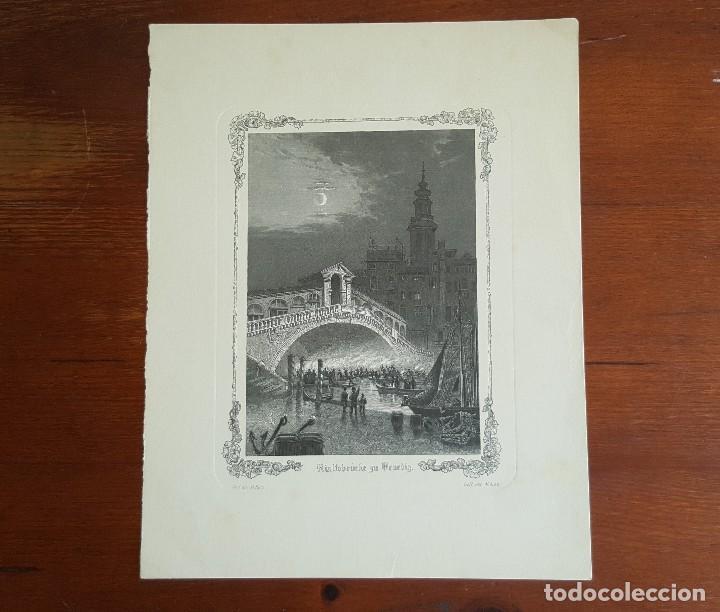GRABADO ANTIGUO M. KURZ. PUENTE DE RIALTO EN VENECIA. (Arte - Grabados - Contemporáneos siglo XX)