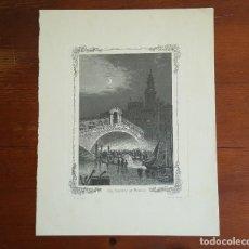 Arte: GRABADO ANTIGUO M. KURZ. PUENTE DE RIALTO EN VENECIA.. Lote 120032443